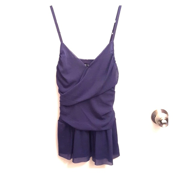 Express Tops - Peplum style sheer purple top from Express